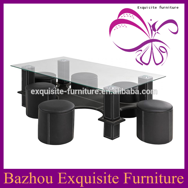 PU covered glass top coffee table with stools
