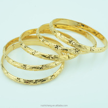 6mm Dia 55mm Middle Women Girls Gold Plated Round Bangles Engraving Jewelry Wholesale Price Vietnam/Cambodia