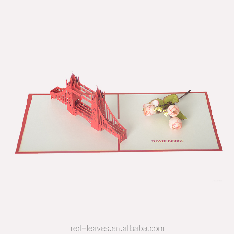 Elegant customized 3D pop card laser cut gift card with printing
