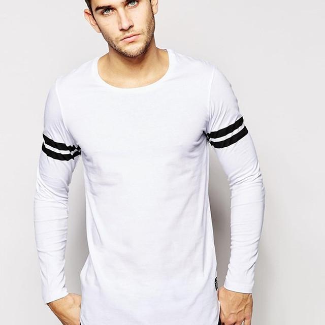 Cheap Wholesale 100% Cotton White Blank T-Shirt Mens Long Sleeve T Shirt Longline Curved Hem T Shirt Bulk Striped T Shirt