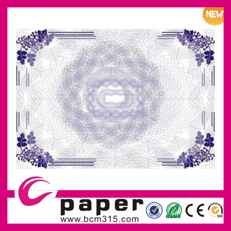 Manufacturer printed securities paper school company safety paper certificate