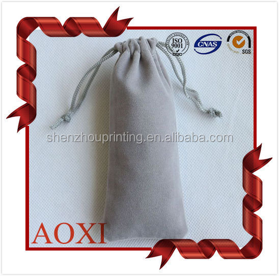 High end fancy custom drawstring velvet purse bag