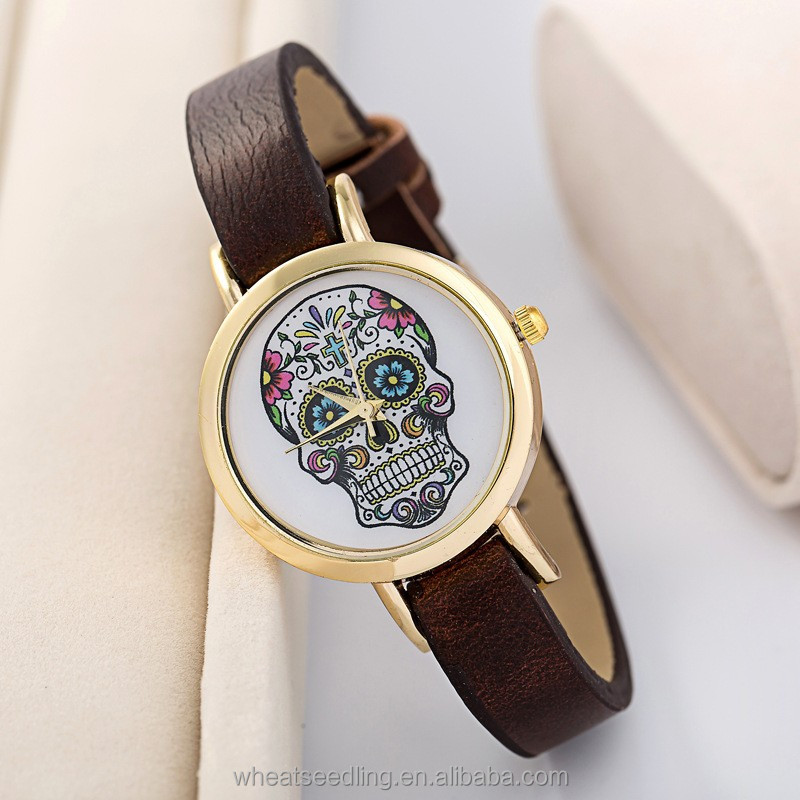 Fashion Leather Thin Band Gold Dail Face Skull Design Lady Watch 2015