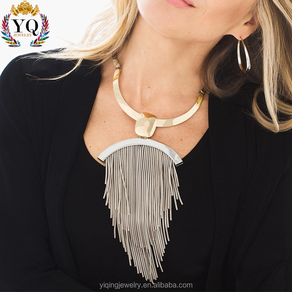 NYQ-00656 new design 2017 fashion gold silver chain tassel lead free nickel free charm zinc alloy custom necklace for women