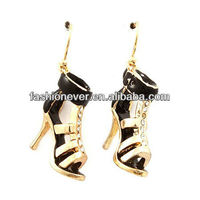 Fun Beautiful Crystal Enamel High Heels Shoes Charm Dangle Earrings
