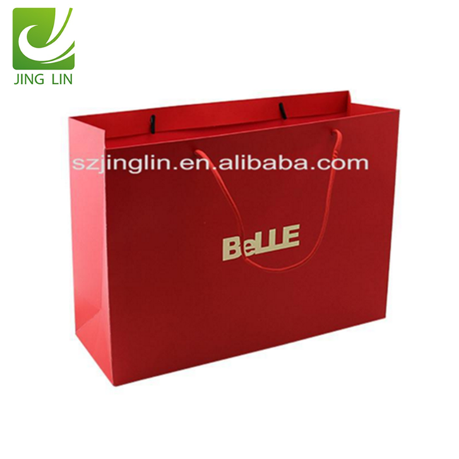 Custom design gold foil logo red shopping paper carry bag for famous band
