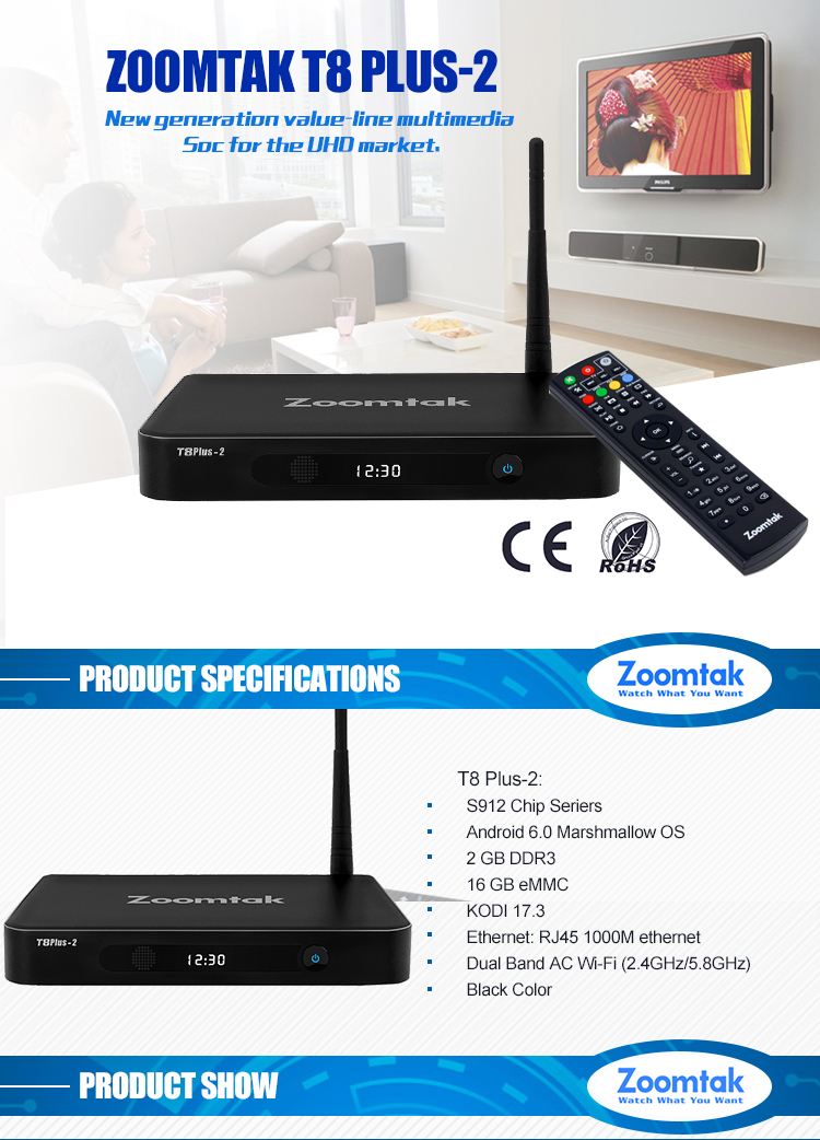 Amlogic S912 4k Android 6.0 free to air black box iptv internet tv receiver