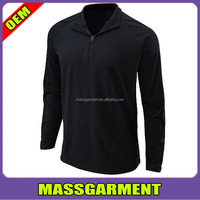 Long Sleeve 1/4 Zipper Dri fit Men's Workout polo t shirts / Wholesale Custom Dri fit men's running pure color polo Shirts
