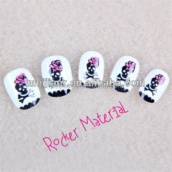 Rocker material Full-Cover Nail Tips Pre-glue Children nail art