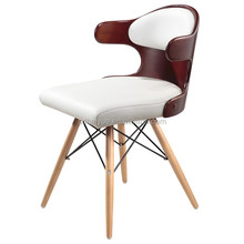 2016 Hot Sale Black-White PU Leather Covered Wooden Leg Plywood Finish Chair for Dining Room