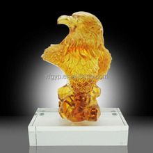 Gold brown color eagle trophy eagle statue with crystal base