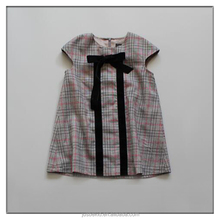 Hot Sale Plaid Baby Girls Dress Short Sleeve Spring Children Clothes