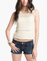 CHEFON Crochet Sweater Tank Top White CNA0009
