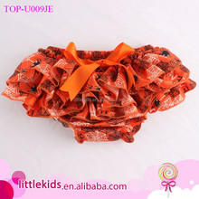 Orange Diaper Cover Cobweb Printed Baby Halloween Bloomers Kids Girls Satin Ruffle Bloomers With Bow