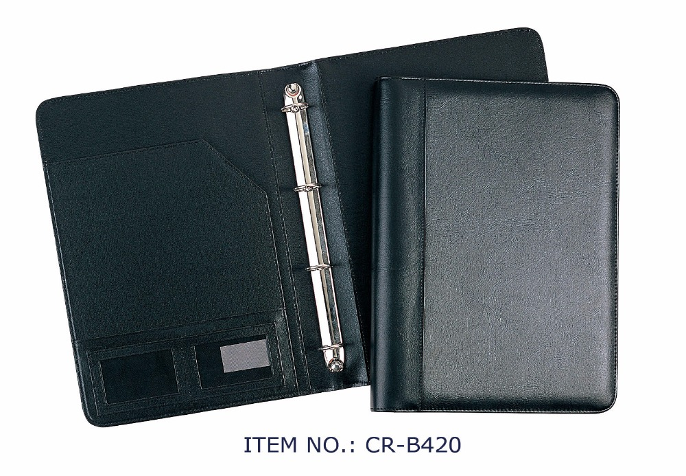 4 ring binder leather presentation portfolio executive briefcase for men