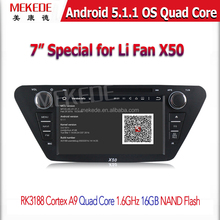 Quad Core Android 5.1 7 inch Lifan X50 Car DVD GPS Player with GPS Navigation Bluetooth Radio Russian menu language