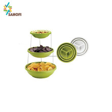 Plastic twist folding bowl plate space saving 3 tier dessert plate fruit tray