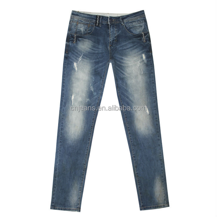 GZY overall stonewash fashion ripped jeans for men
