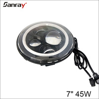 "H4 H13 7"" round led head lamp halo 7 inch 45W led headlight for jeep compass"