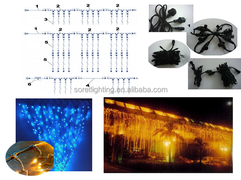 waterfall christmas lights led curtain light