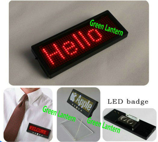 rechargeable led scrolling text badge