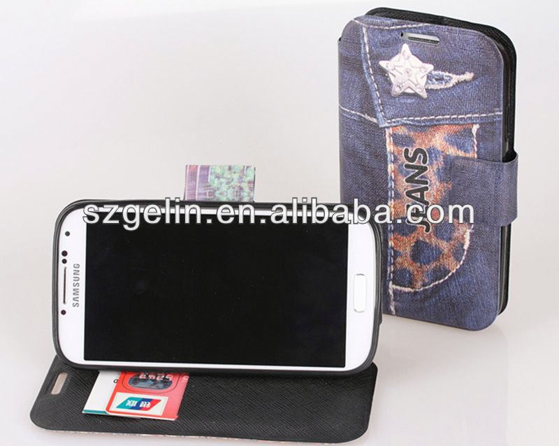 jean style stand leather case for samsung s4 i9500
