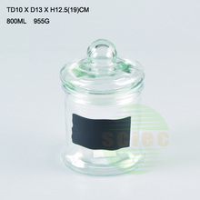 800ml H barrel glass storage jar with mushroom shape glass cap