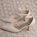 Wedopus Pointed Toe Bridal Shoes Lace Ivory
