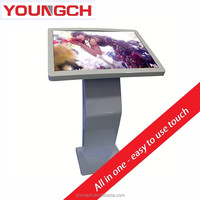 Android floor stand free standing video display kiosk 55 with extra anti vandal protective glass additional anti theft strong ca