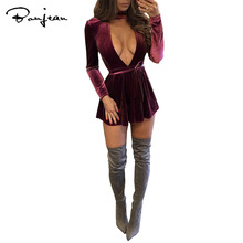 Sexy Velvet Mini Dress Long Sleeves Deep V-neck Women Dresses Wine Red Green Autumn Winter Club Factory Party Wear Dress