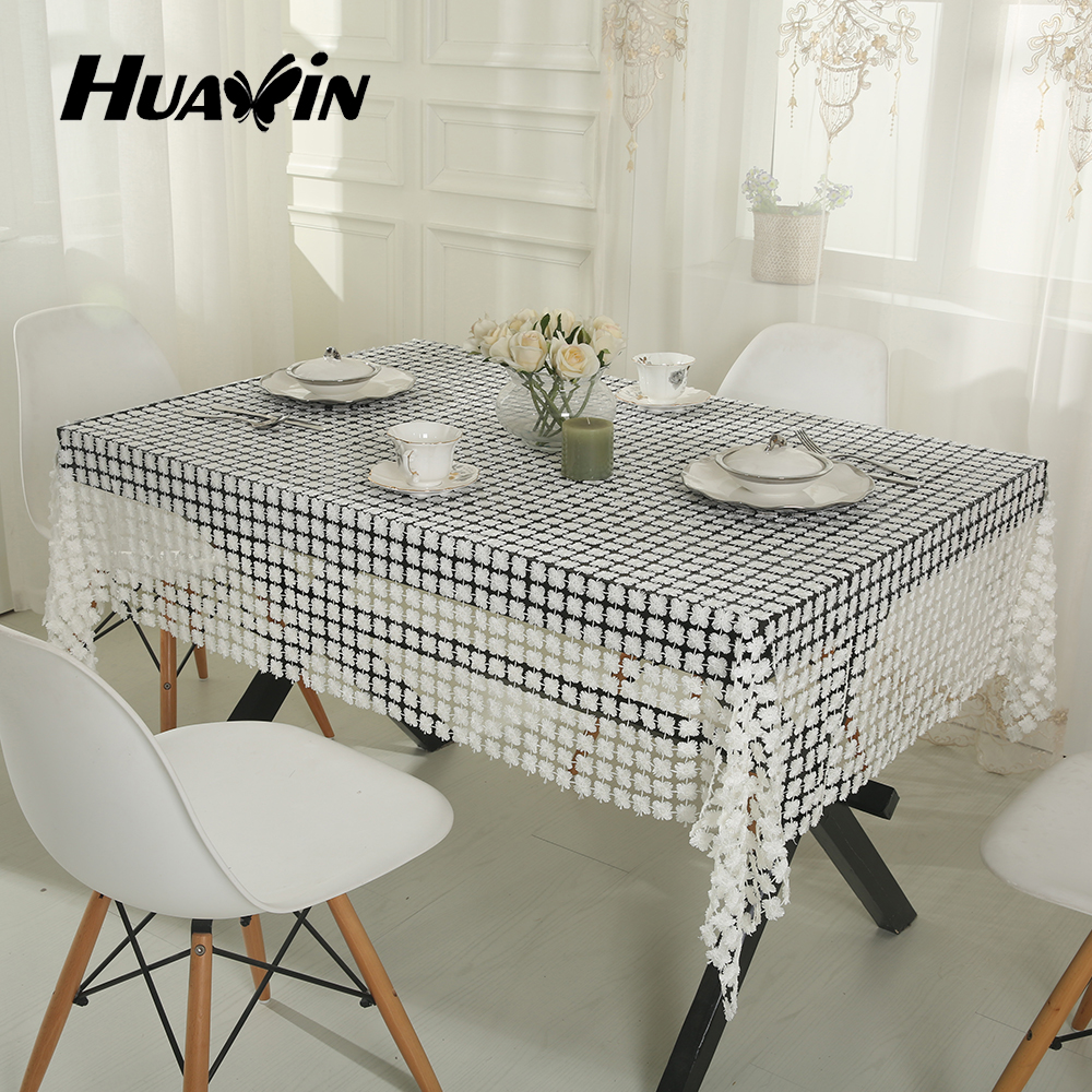 warp knitted white water soluble embroidery table cloth for home