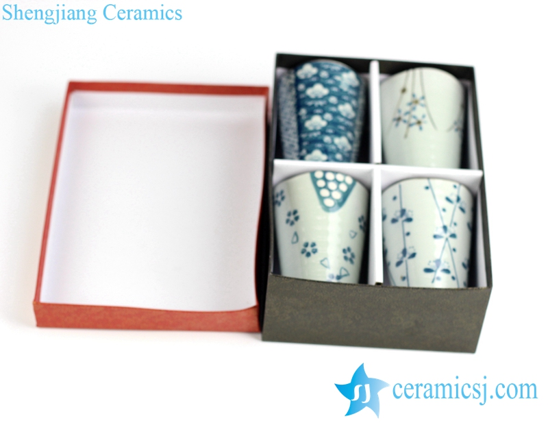 RZIO02 Japanese style blue and white oriental cherry flower mark ceramic tea cup