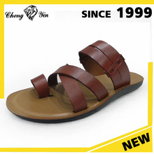 Brown leather Arabic Men wear trendy fashion non-slip breathable summer sandals and slippers