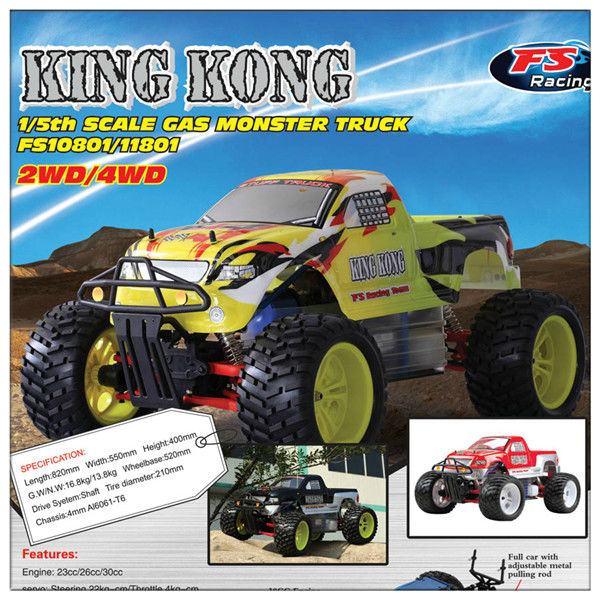FS-10801 1/5 Scale Gas Monster Truck Easily upgrade into 4WD from 2WD(King Kong) Red