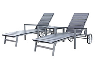 Excellent new design and top sale outdoor garden plastic wooden chaise lounge