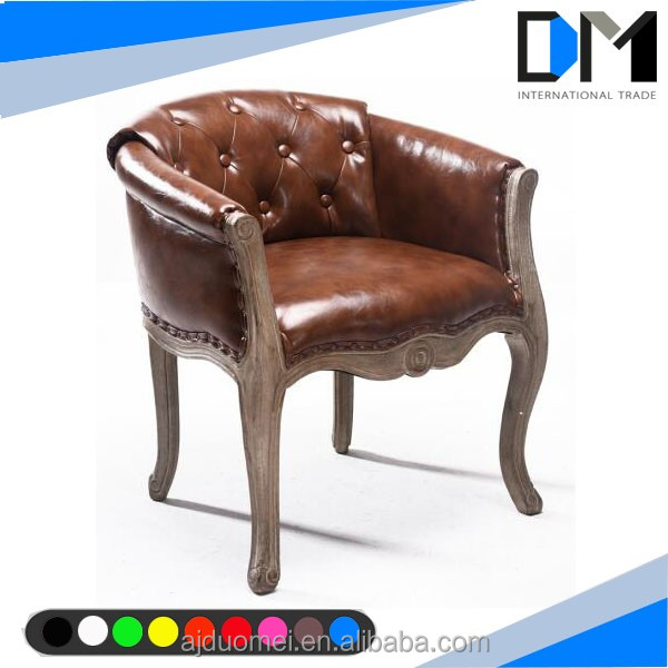 vintage leather wedding long sofa chair , wooden single sofa chair