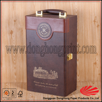 leather wooden custom wine gift box/carrier/holder