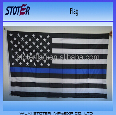 screen printing 3*5ft thin blue line United state flags