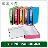 gray PP diagonal material box file with rubber fastener