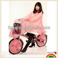 popular pink bicycle pvc cute rain poncho for women