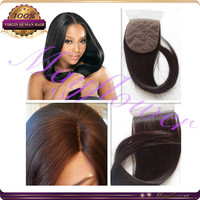 "12"" 3.5*4 hair closure piece silk based closures silky straight brown scalp color middle part/free /3way part hidden knots stock"