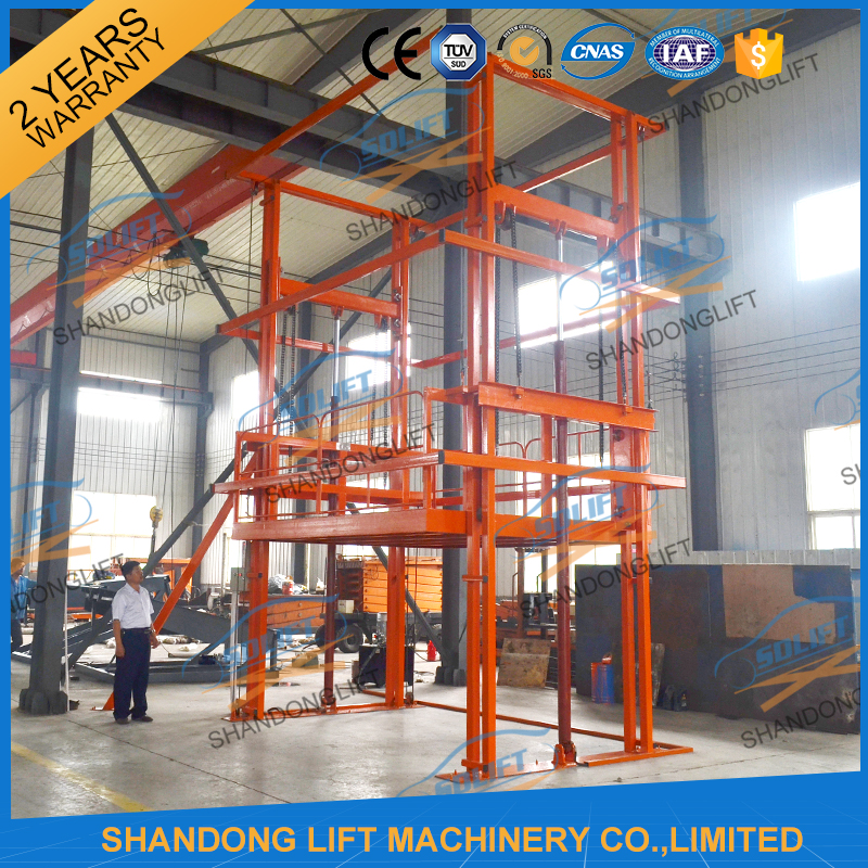High quality guide rail electric cargo lifting equipment