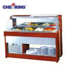 guangzhou manufacturer best quality catering equipment wooden food warmer display counter cold display optional with CE