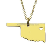 USA states outline map necklaces,oklahoma pendent necklace,steel gold wholesale necklace