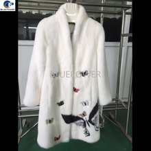 White color long winter mink coat with butterflies pattern beautiful winter coat