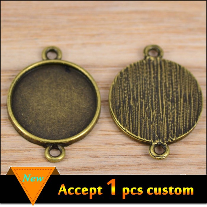 Best selling fashion jewelry antique brown 18mm setting two holes connector blank pendant trays
