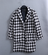 China garment factory wholesale suit collar tweed print wool coat