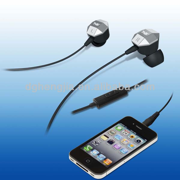 fashion metal in-ear earphone with mic for mobile phone