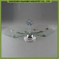 New item glass cake stand / cake display stand with silver metal holder