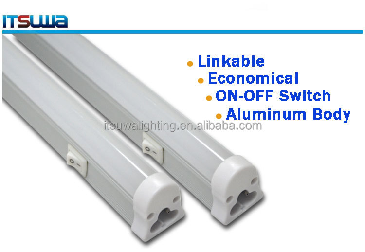 Integrated t5 led tube smd led chips2835 2ft 8W AC100-240V double side led t5 tube with on off switch